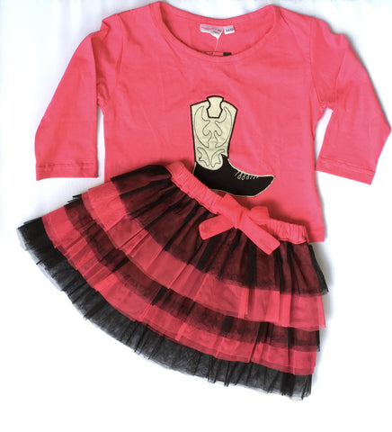 Girls Pink & Black Tulle Skirk & Boot Applique' Tee set-Toddler
