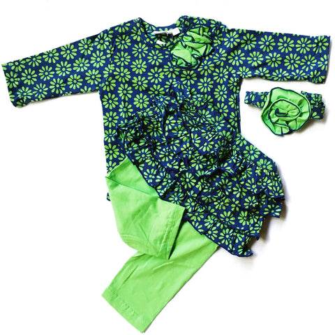 Lime & Blue Daisy Girls Skirt Set with Leggings -Infant, Toddler
