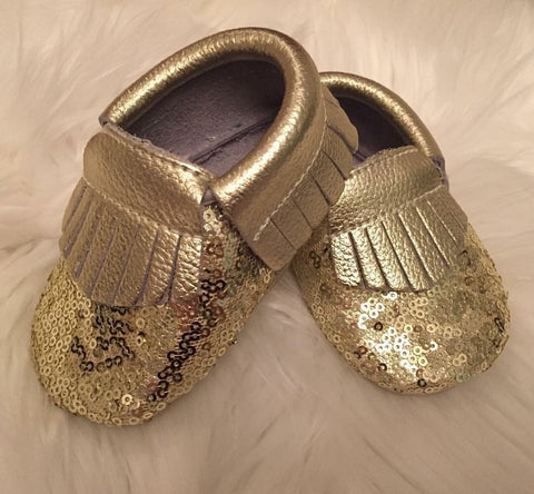 Gold Sequin Leather Moccasins-Infant, Toddler