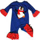 Penguin Applique' Ruffle Christmas Girl's Longall-Infant, Toddler
