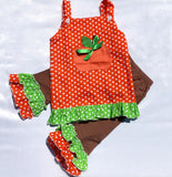 Little Pumpkin Thanksgiving Orange Polka Dot Top Brown Ruffle Leggings Boutique Outfit