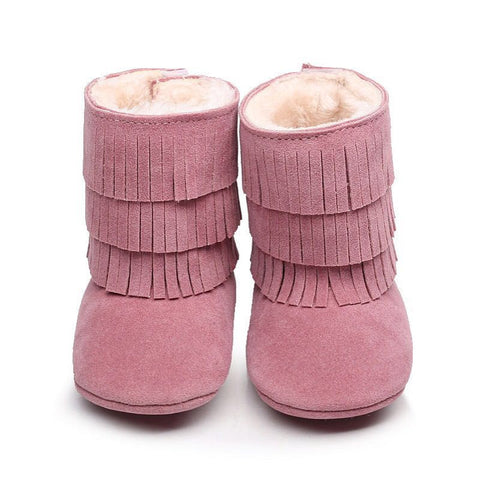 Blush Pink Faux-Fur Lined Suede Fringe Boots-Infant,Toddler