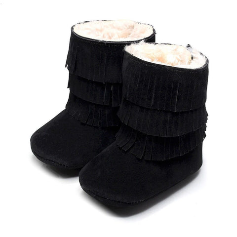 Black Faux-Fur Lined Suede Fringe Boots-Infant,Toddler