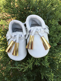Immaculate Double Gold Tassel Leather Moccasins- Baby, Toddler