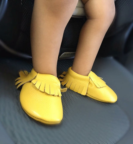 Lemon-Yellow Tassel Leather Moccasins-Baby, Toddler