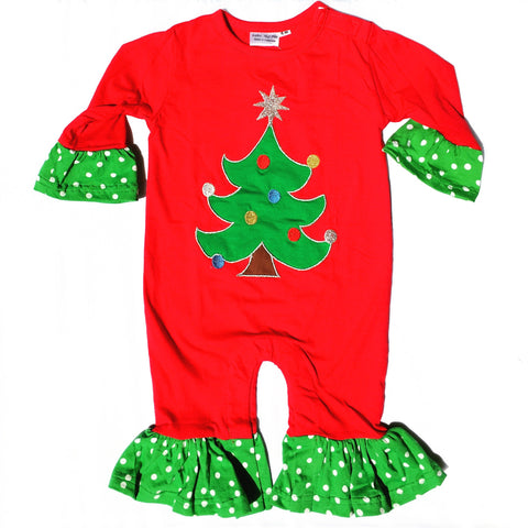 Christmas Tree Applique' Ruffle Girls Longall-Infant, Toddler