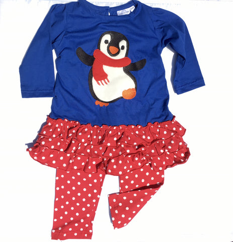 Girls Christmas Penguin Applique' Dress with Leggings-Toddler