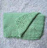 Green Single Crochet Baby, Infant Blanket