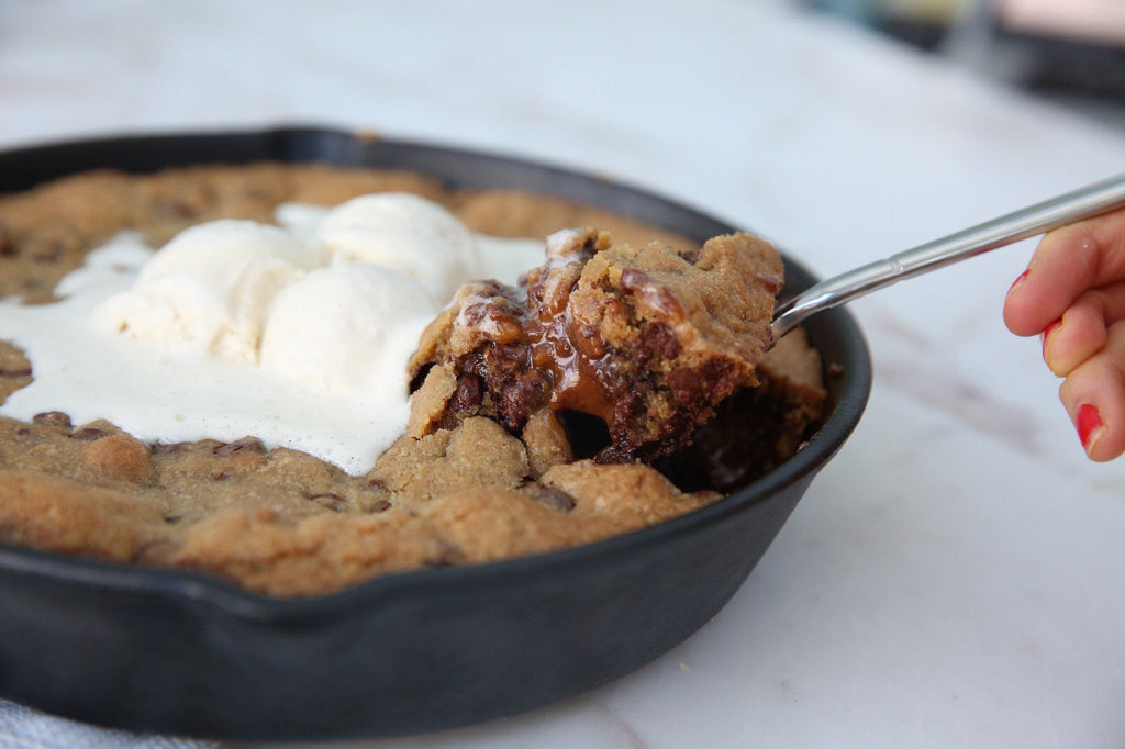 Caramel Chocolate Chippy Skillet Cookie