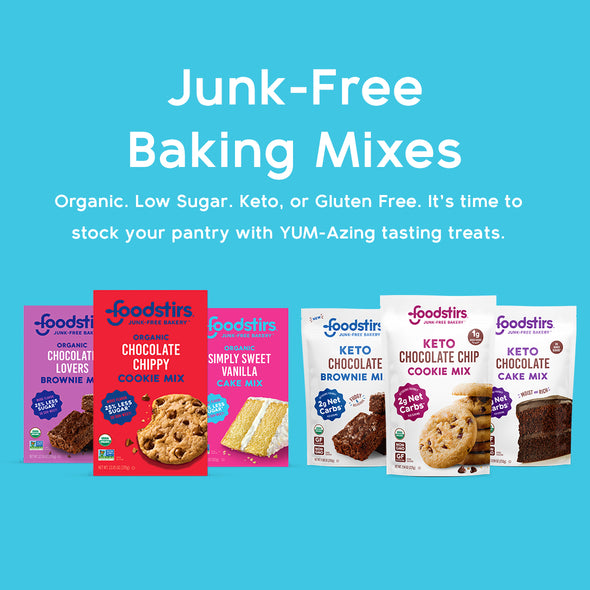 Junk-Free Baking Mixes. You're 6 steps & 25 minutes away from organic & low sugar amazing tasting treats.
