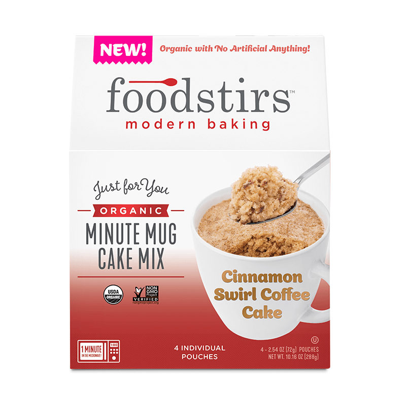 Foodstirs Organic Cinnamon Swirl Coffee Cake Minute Mug Cake Mix Mixes Foodstirs