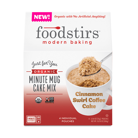 Foodstirs Organic Cinnamon Swirl Coffee Cake Minute Mug Cake Mix
