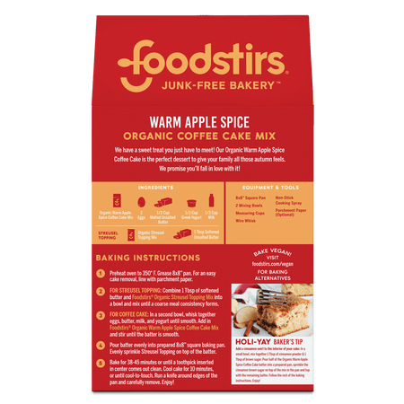 Foodstirs Organic Warm Apple Spice Coffee Cake Mix Mixes Foodstirs