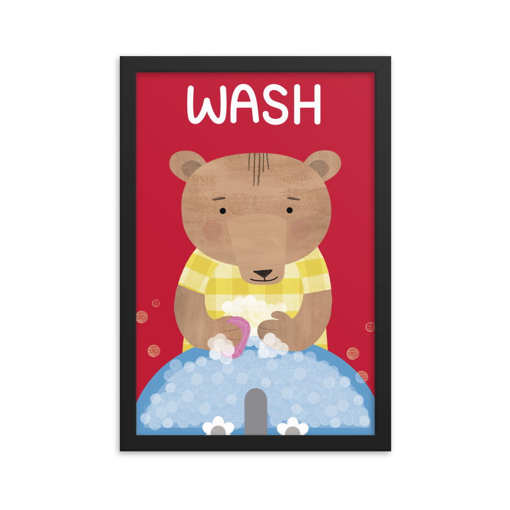 Washing Bear (Framed)