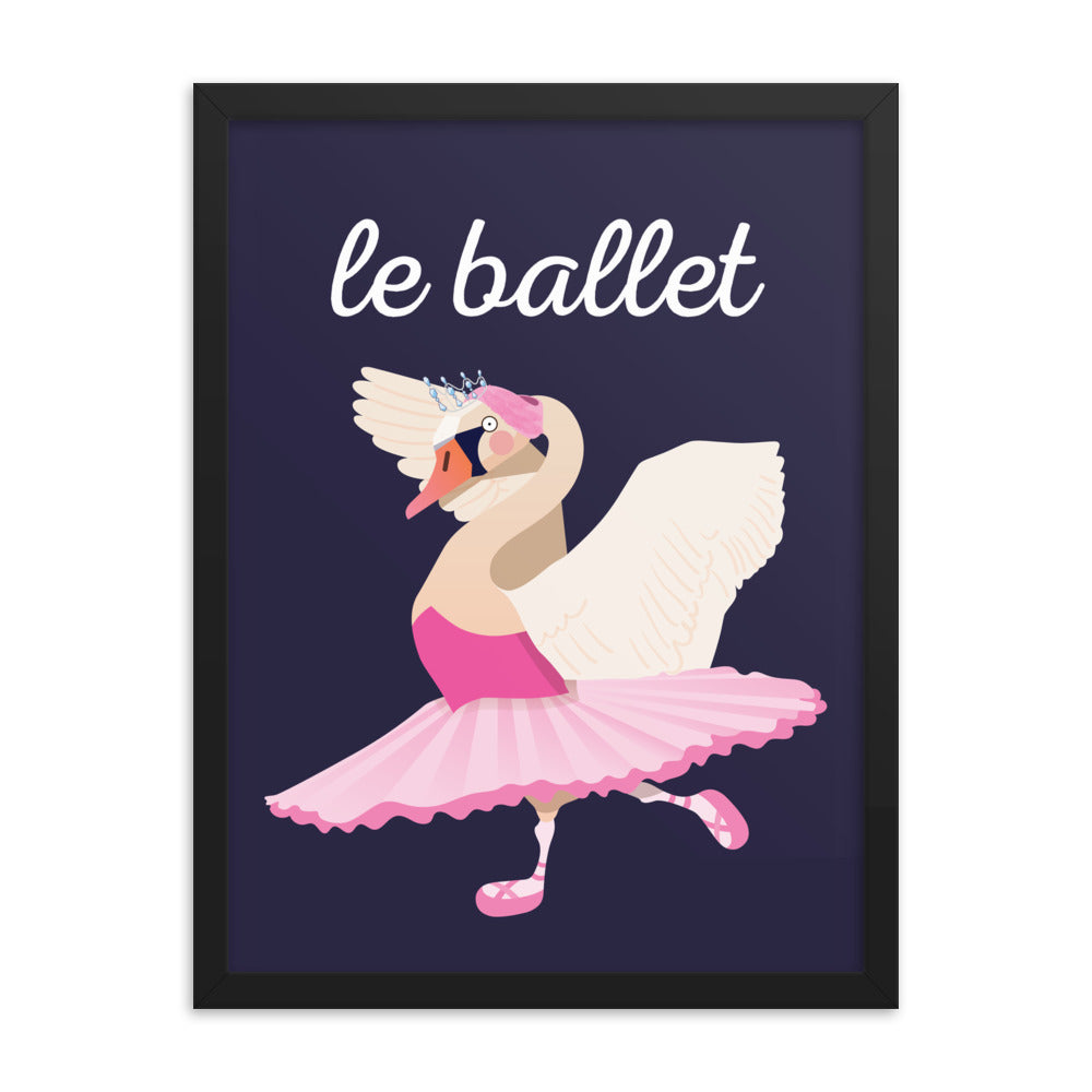 Ballet Swan - French (Framed)
