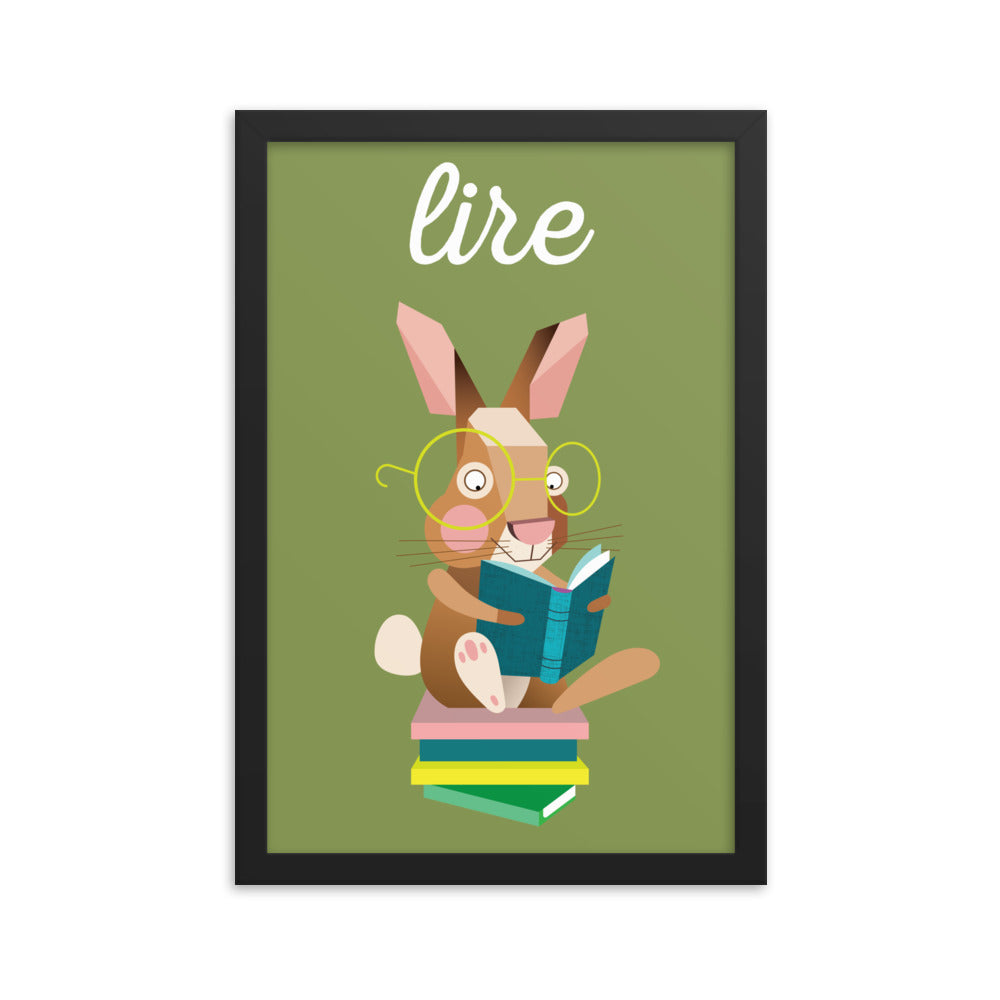 Reading Rabbit - French (Framed)