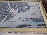 Waterways Collection Map of Hilton Head & The Low Country by Artist Terry Moore Throw