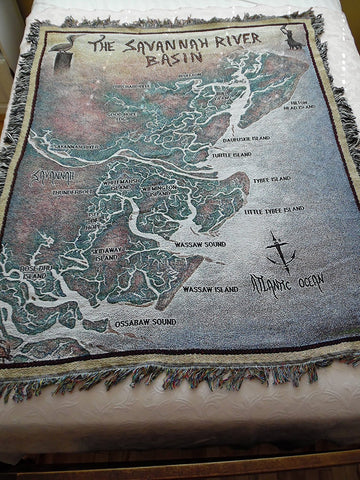 Waterways Collection Map of The Savannah River Basin by Artist Terry Moore Throw