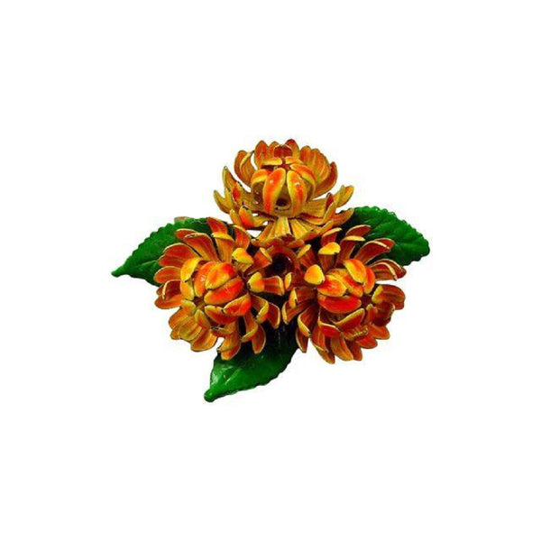 Retro Orange Enamel Floral Brooch