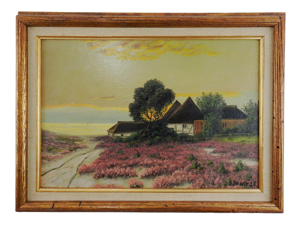 1928 Seaside Cottage Sunset Painting