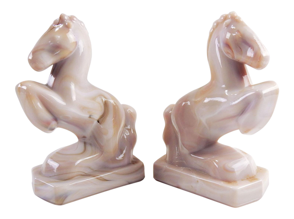 1950s Mid-Century Modern Pink Marbled Glass Rearing Horse Bookends - a Pair