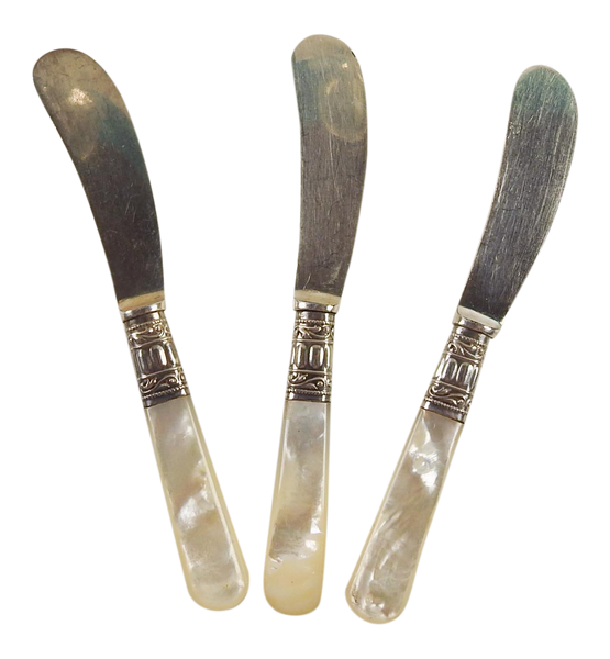 Sterling Silver & Mother of Pearl Cheese Knives - Set of 3
