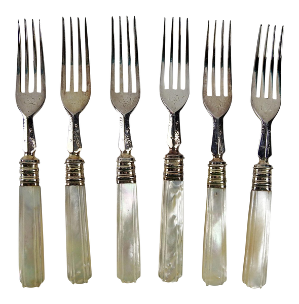 Deco Silverplate & Mother of Pearl Salad Forks - Set of 6