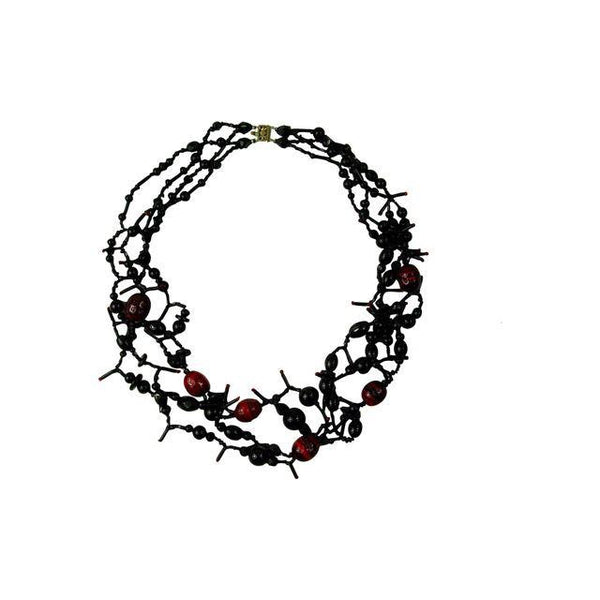 Artist Made Vintage Beaded Necklace Black & Red - Artifax antiques & design