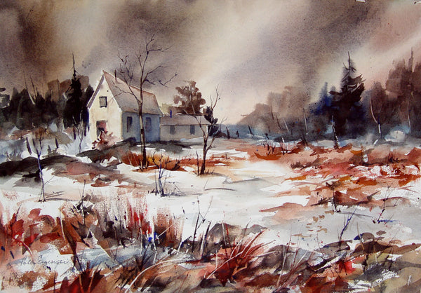 Vintage Texas Artist Storm at the Cabin Watercolor