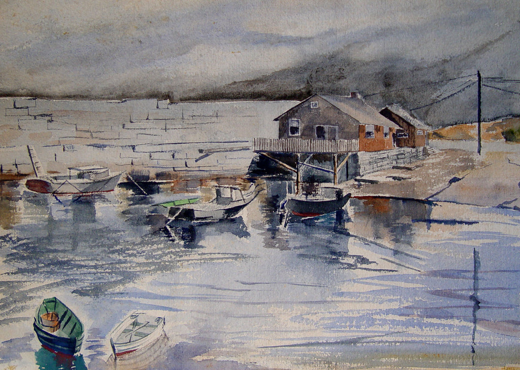 Misty Harbor, 1957 Watercolor