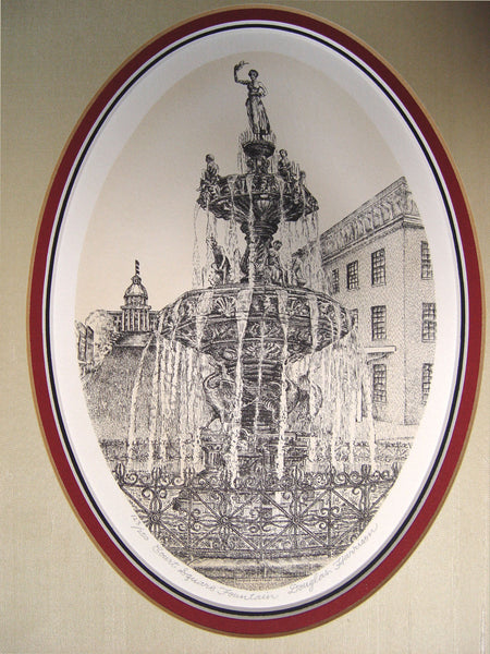 Court Square Fountain Lithograph - Artifax antiques & design