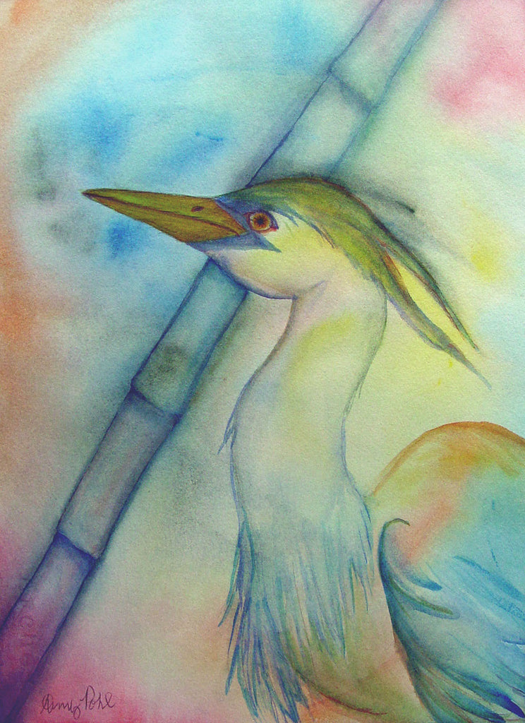 Colorful Heron Watercolor - Artifax antiques & design