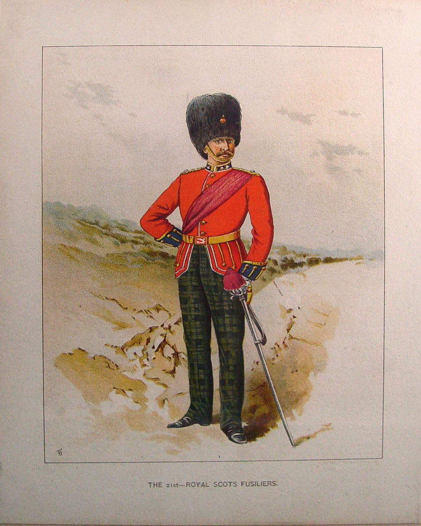 Antique Lithograph1890s 21st Royal Scots Fusiliers - Artifax antiques & design