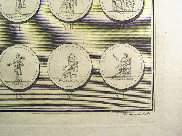 Antique Engraving Roman Medallions Coins 1755 - Artifax antiques & design