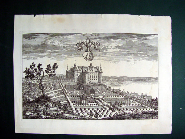 Antique Engraving Swedish Baroque Castle Moorby 1690 - Artifax antiques & design