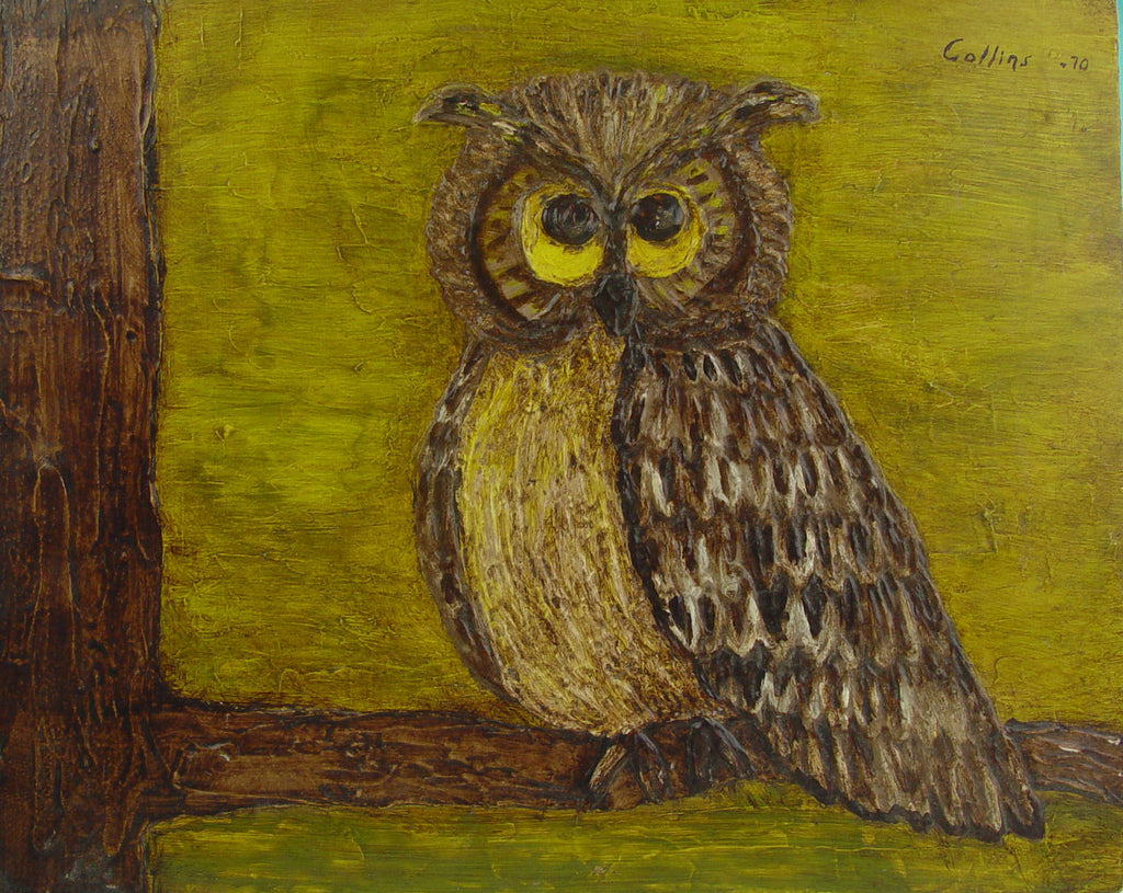 Retro Owl by Collins, 1970 Oil on Board