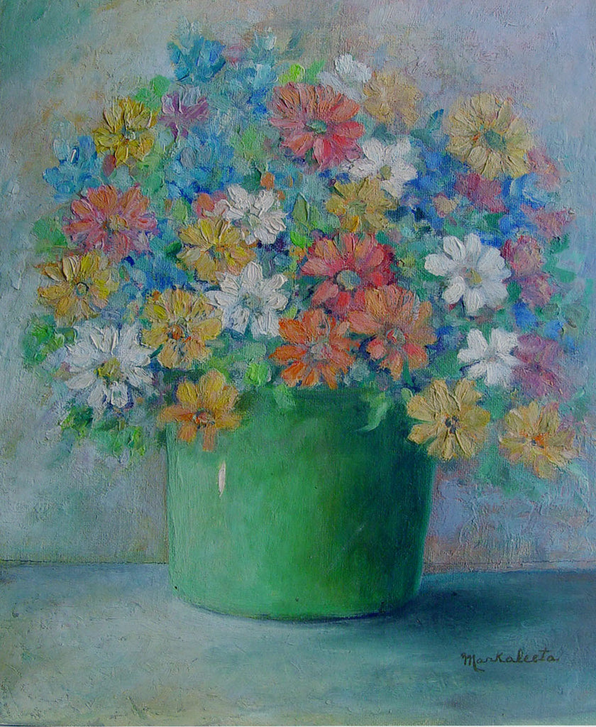 Wild Flowers in Green Pot