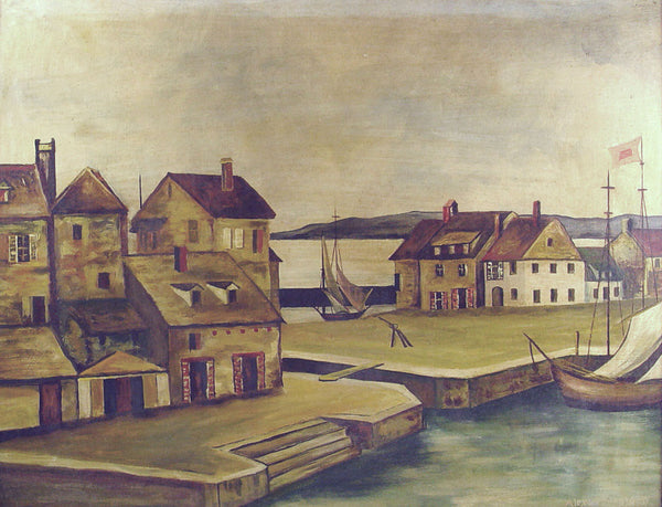 1930's European Harbor Oil on Masonite Painting - Artifax antiques & design