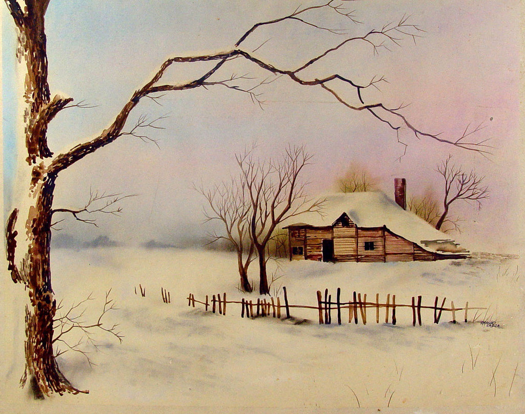 Ramiro Garza Winter Homestead Watercolor