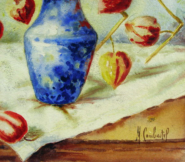 Chinese Lantern Pods in Blue Vase Watercolor - Artifax antiques & design