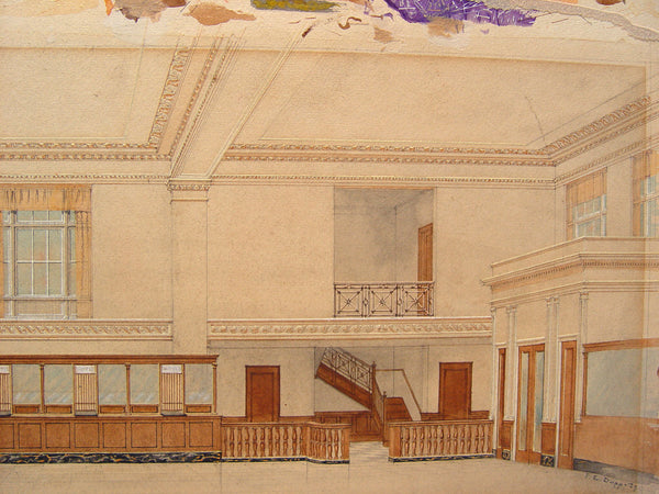 1920s Vintage Deco Architectural Interior Rendering - Artifax antiques & design