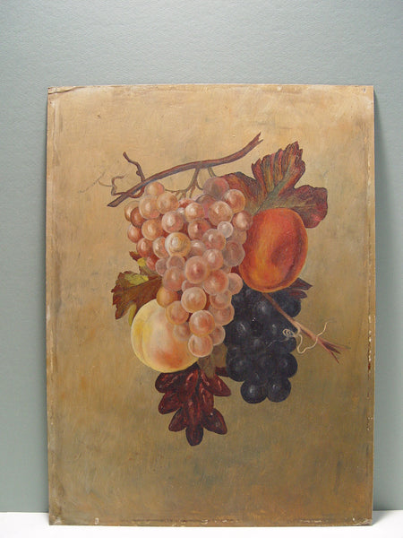 Antique Grapes & Peaches Still Life Oil Painting 1890s - Artifax antiques & design