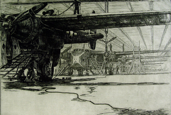 Airplane Assembly by Kurt Hagerman Etching - Artifax antiques & design