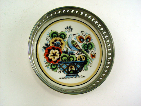 Vintage Delft Hand Painted Wine Coaster