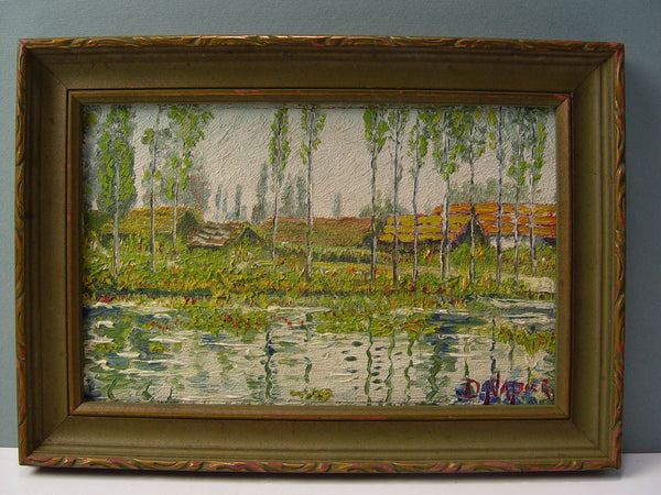 1930s Vintage Lakeside Retreat Oil on Board - Artifax antiques & design