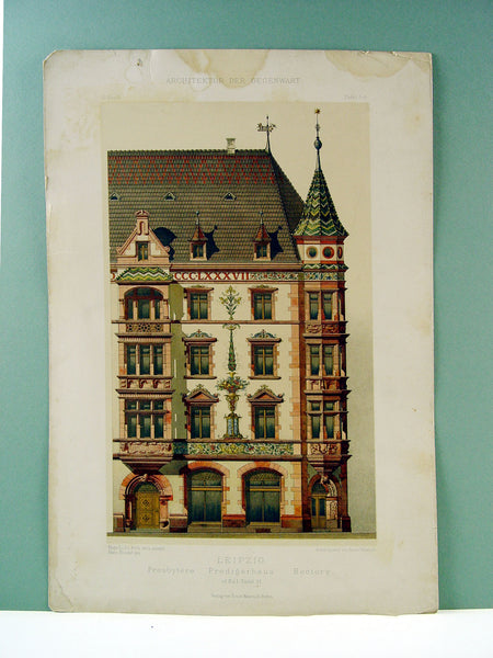 Antique Lithograph 1890s Architectural Detail - Artifax antiques & design