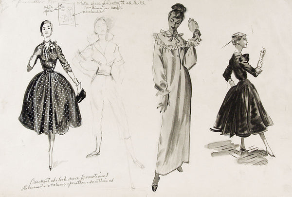 1950's Fashion Drawing Studies