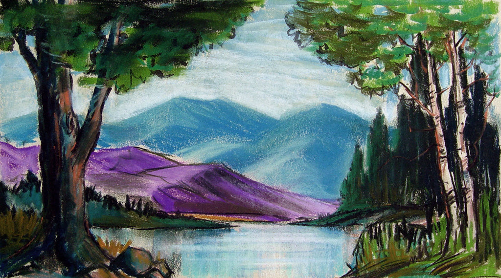 Mountain Lake Pastel Study