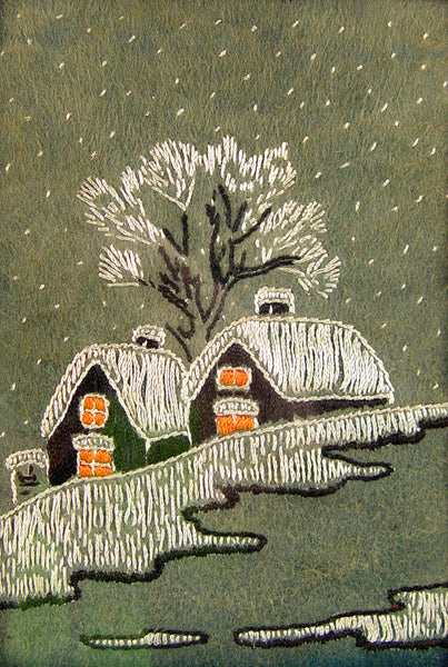 Vintage Embroidered Rustic Winter Scene