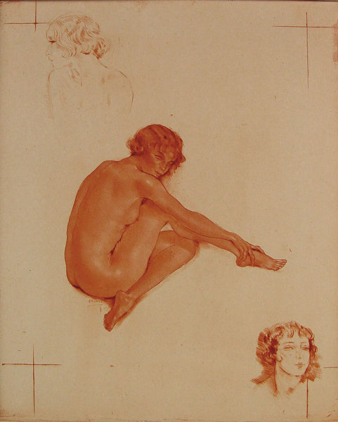 French Nude Etching by Édouard Chimot